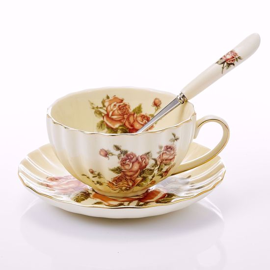 Picture of 3-Piece Place Setting Bone China Tea Cup and Saucer Set with Spoon 10 oz, Vintage Porcelain Coffee Cup Set, Service for 1, Hand Painted Flower Ivory White Gold Rimmed
