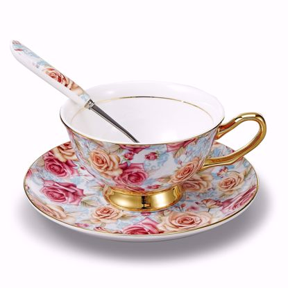 Picture of 3-Piece Place Setting Bone China Tea Cup and Saucer Set with Spoon 6.8 oz, Vintage Porcelain Coffee Cup Set, Service for 1, Blooming Flowers Gold Rimmed