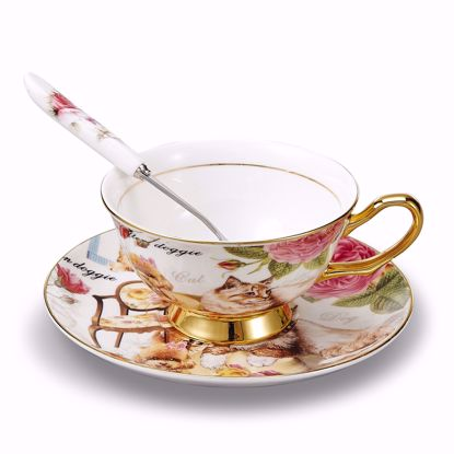 Picture of 3-Piece Place Setting Bone China Tea Cup and Saucer Set with Spoon 6.8 oz, Vintage Porcelain Coffee Cup Set, Service for 1, Cats and Dogs