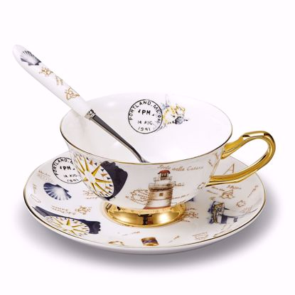 Picture of 3-Piece Place Setting Bone China Tea Cup and Saucer Set with Spoon 6.8 oz, Vintage Porcelain Coffee Cup Set, Service for 1, Creative Stamp Pattern Gold Rimmed