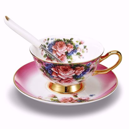 Picture of 3-Piece Place Setting Bone China Tea Cup and Saucer Set with Spoon 6.8 oz, Vintage Porcelain Coffee Cup Set, Service for 1, Fuchsia Flowers Gold Rimmed