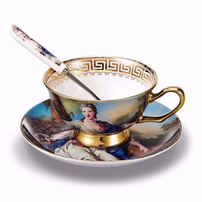Picture of 3-Piece Place Setting Bone China Tea Cup and Saucer Set with Spoon 6.8 oz, Vintage Porcelain Coffee Cup Set, Service for 1, Goddess Figure Oil Painting