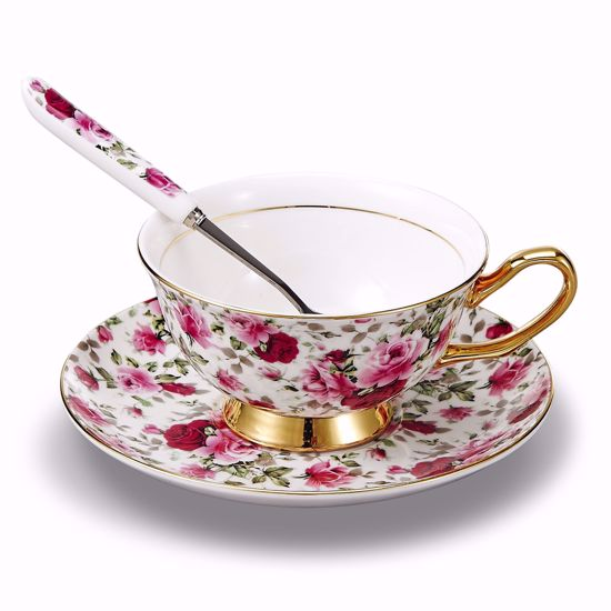 Picture of Panbado 3 Piece Bone China Tea Cup and Saucer Set with Spoon,6.8 Ounce Porcelain Coffee Cup Set, Service for 1, Pink and Red Floral