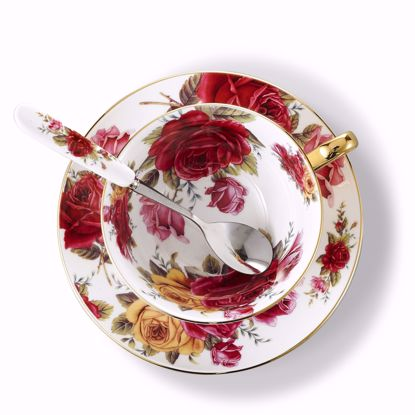 Picture of 3-Piece Place Setting Bone China Tea Cup and Saucer Set with Spoon 6.8 oz, Vintage Porcelain Coffee Cup Set, Service for 1, Yellow and Red Rose
