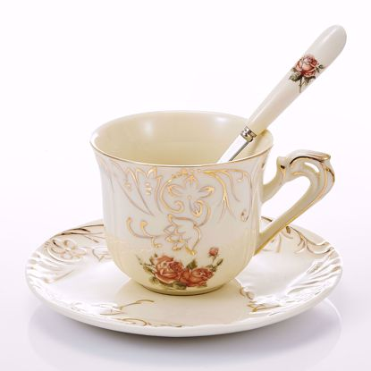 Picture of Panbodo 3 Piece Place Setting Bone China Tea Cup and Saucer Set with Spoon 7.5 Ounce, Vintage Porcelain Coffee Cup Set, Service for 1, Ivory White Golden Leaves