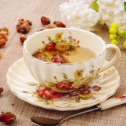 "Picture of Panbado 3-Piece Gold Rimmed Creative European Luxury Hand Painted Ivory China Flower Tea Coffee Set Porcelain Tea Service with 10 Ounce 5"" Cup 4.5"" Saucer and 6"" Spoon(Piece of 3)"