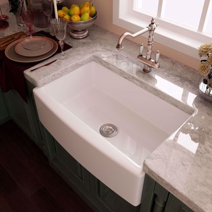 "Picture of 33"" White Ceramic Double Basin Apron Farmhouse Kitchen Sink with Strainer & Grid"