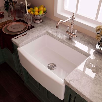 "Picture of 30""x20""x10"" Ceramic Single Bowl Farmhouse Apron Kitchen Sink with Strainer White"