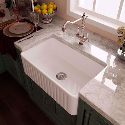 "Picture of 30"" Eridanus Ceramic Farmhouse Apron Single Basin Kitchen Sink with Strainer"