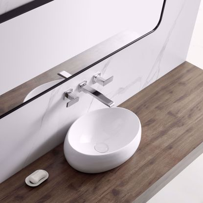 Picture of Modern Bathroom Vessel Sink Porcelain Ceramic Basin Oval Pop Up Drain White