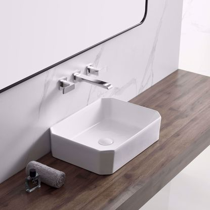 Picture of Octagon White Ceramic Sink Bathroom Vessel Sink Vanity Basin with Pop Up Drain