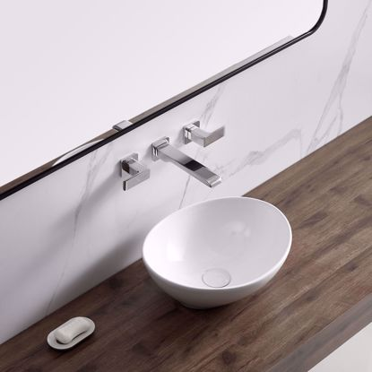 Picture of Modern Vessel Sink Bathroom Porcelain Ceramic Basin Oval Pop Up Drain White 013