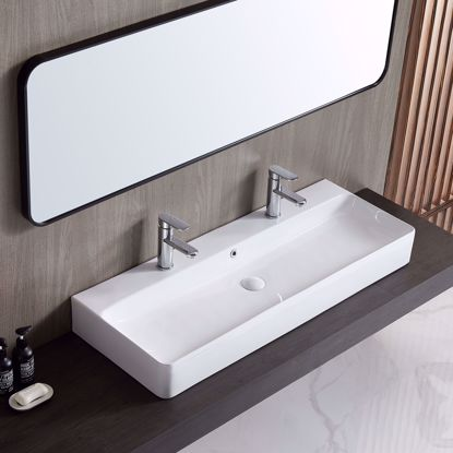 "Picture of 43"" Wall-mount Dual Vessel Sink Ceramic Trough Bathroom Sink with 2 Faucet Holes"