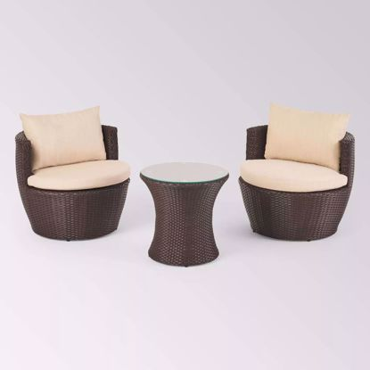 Picture of Tenaro Wicker Patio Chair & Stool Set (Set of 3)