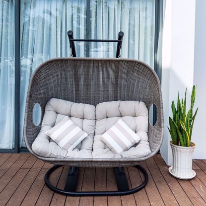 Picture of Kamar Wicker Patio Porch Swing with Stand